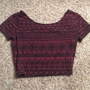 Forever 21 red pattern crop top